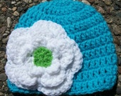 Teal Blue Aqua Girl Beanie Hat-Big White & Lime Green Chunky Flower- Available In Size -Newborn-Adult-Photo Prop
