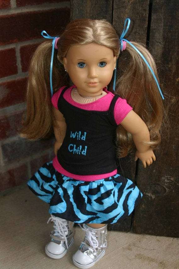 Wild Child 3 piece outfit to fit your 18 inch american girl or similar doll, skirt, tank top, t-shirt,