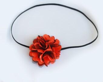 Halloween Headband... Baby headband... Orange Black Headband... Halloween flower headband