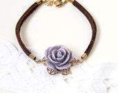 Leather Bracelet with Purple Flower and Metal Lace
