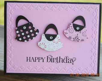 Handcrafted Girly Purse Birthday Card