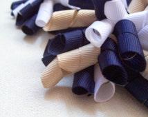 School Uniform Korker bow Hair Clip - Navy Blue, White, Khaki Tan, Mini Korker, Large Korker