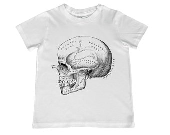 Child Vintage Anatomical Skull TShirt - color choice, personalization available - youth sizes 2T-4T xs, s, m, l, xl