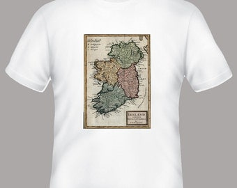 Colorful Vintage Ireland Map Adult Tshirt  -- other tshirt color and personalization available - adult sizes S-3XL