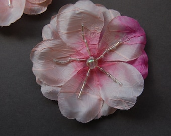 Pink/Pink Ombre Beaded Flower with Pin Back