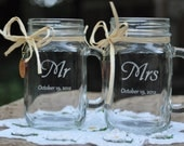 Mason Jar Wedding Glasses -  Mr and Mrs - Choice of 21 Fonts - Left or Right Handles