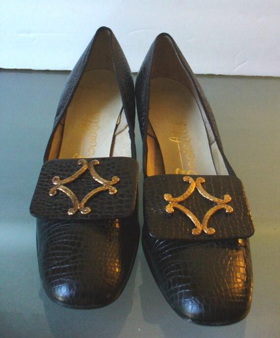 Vintage Black Faux Croc Socialites Shoes Size 8.5AA