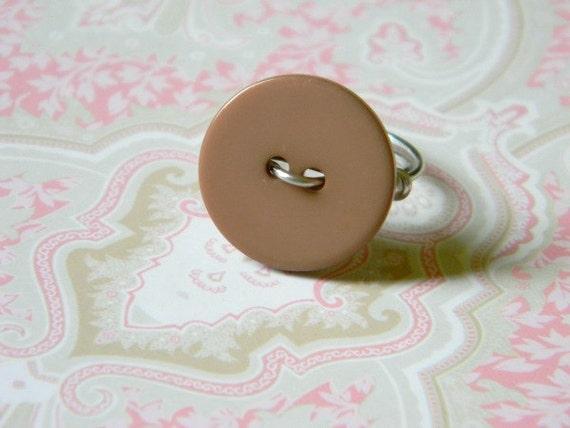 Vintage Button Ring - (cafe with silver band)