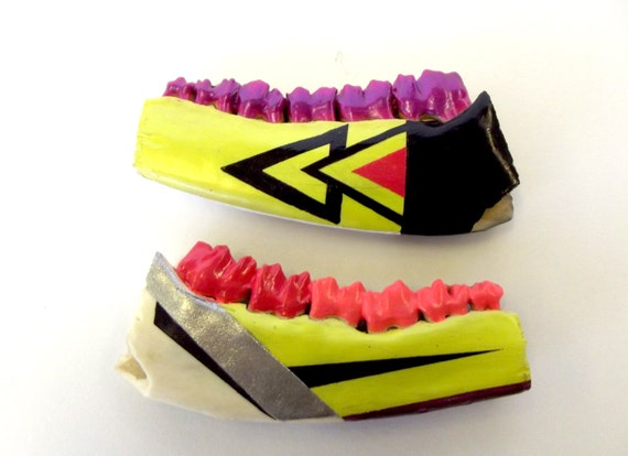 NEON PINK & YELLOW geometric aztec painted vintage jaw bones and teeth with black, silver, purple accents
