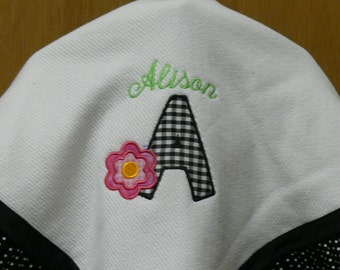 Applique and Mongram Handmade Jersey Knit Baby Blanket with Ruffles