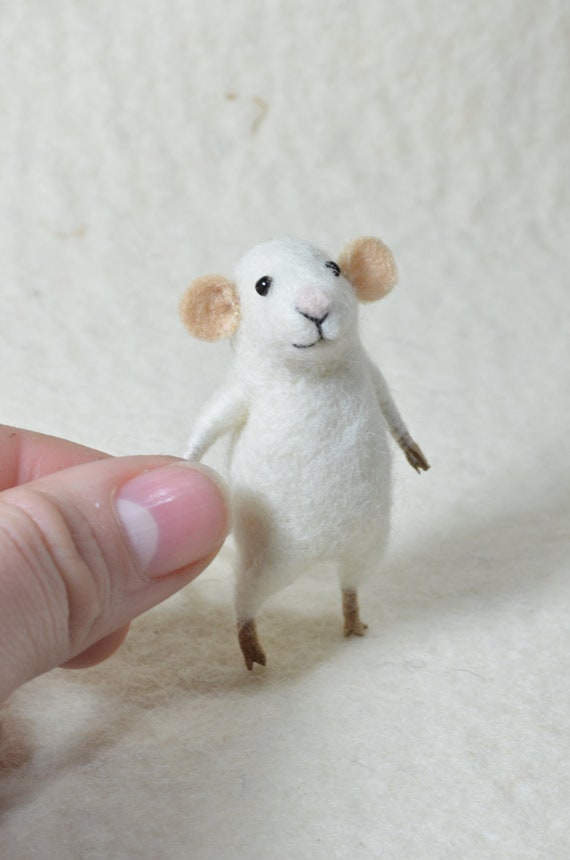 RESERVED FOR NANCY Tiny white Mouse -  needle felted ornament animal, felting dreams