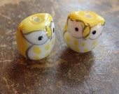 Yellow Porcelain Owl Beads