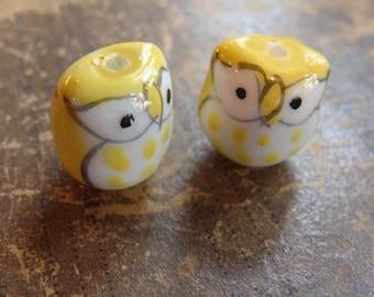 Yellow Porcelain Owl Beads