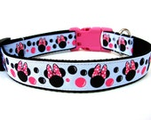 Minnie Mouse Dog Collar Black White and Pink 1""