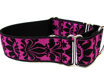 "Martingale Dog Collar Magenta Brocade 1.5"" matching flower available and in blue"