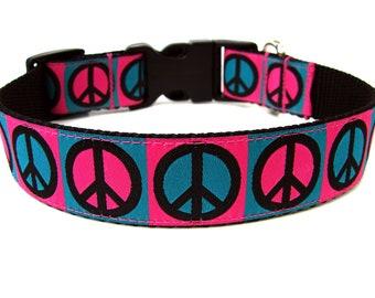 Pink Peace Dog Collar Colorful Dog Collar
