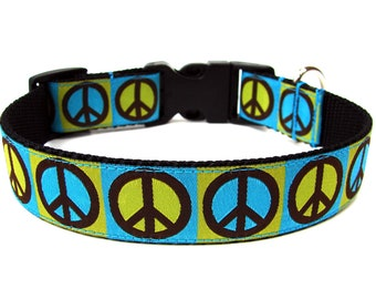 Green Peace Dog Collar Colorful Dog Collar SIZE SMALL
