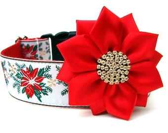 "Dog Collar Flower Satin and Rhinestone Dog Collar Flower Add-On FOR 1.5"" BUCKLE COLLAR"