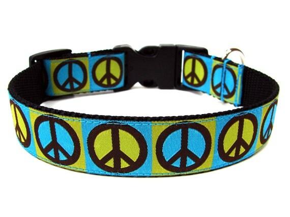 Green Peace Dog Collar Colorful Dog Collar SIZE SMALL