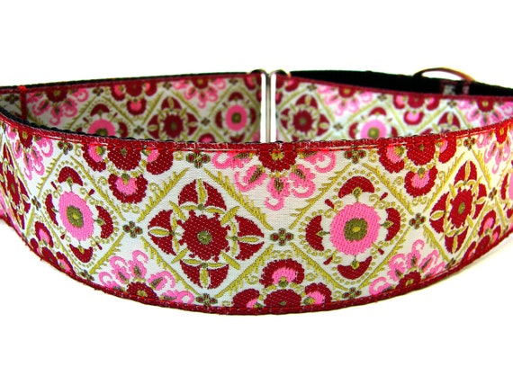 "Martingale Dog Collar Red and Pink 1.5"" Martingale matching dog collar flower available"