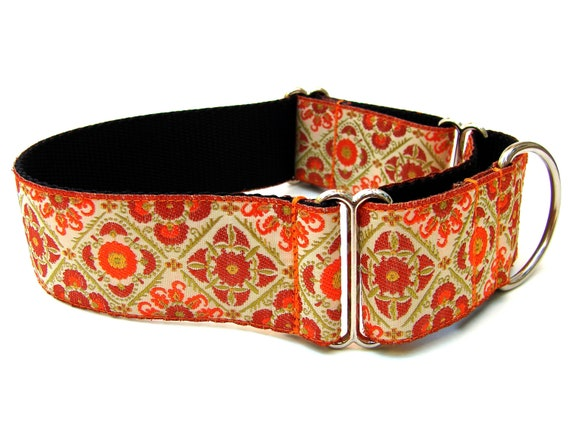 "Orange Dog Collar 1.5"" Martingale Collar Fall Dog Collar"