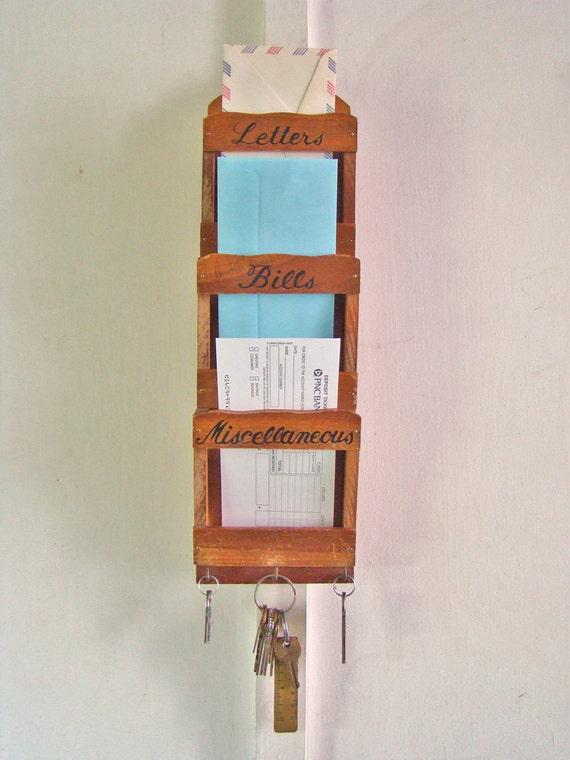 Vintage Wooden Hanging Mail Organizer Key Hanger