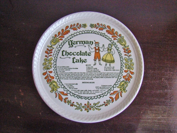 RESERVED for KLew--vintage folk German chocolate cake recipe cake plate by Royal China Co