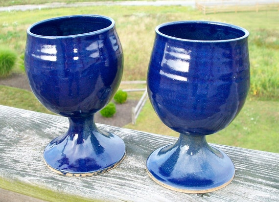 Wine Goblets, Cobalt blue