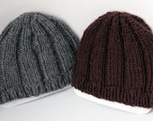 Super Soft Hand-knit Winter Hat, Gray or Brown