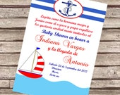 Natical or Marine Baby Shower Invitation in Spanish or English