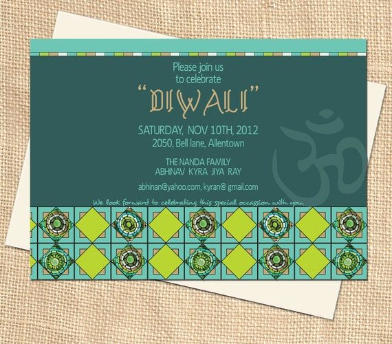 Items similar to printable diy elegant om diwali party items similar to printable diy elegant om diwali party personalized invitation and diwali greeting pdf file on etsy stopboris Gallery