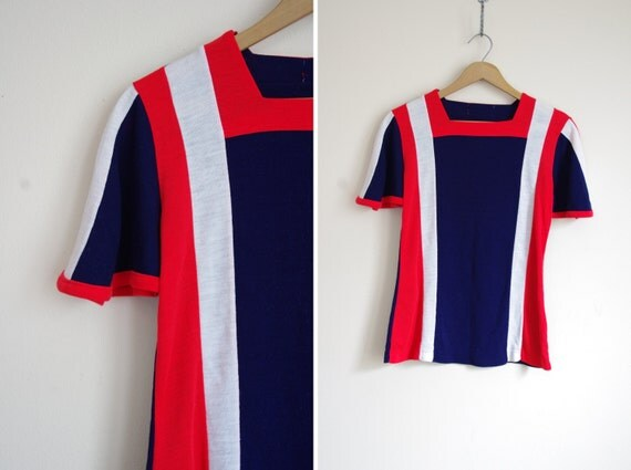 MOD blue red white colorblock square neck stripe bell sleeve top S