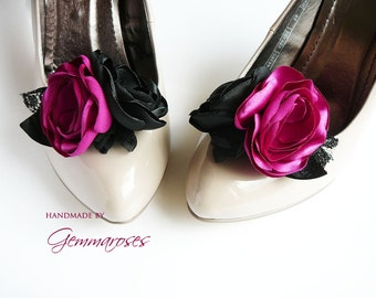 Magenta  Black Shoe Clips