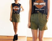 Military army cargo high waisted shorts one size