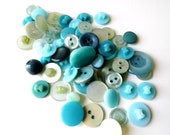 Vintage Teal, Green, Aqua Buttons, Various Hues, Tones and Sizes, 50 Plus pcs., Supplies from All Vintage Sewing - AllVintageSewing