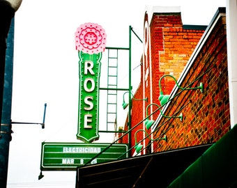 Fort Worth Texas Neon Sign - Stockyeards - Artes de la Rosa - The Rose Marine Theater Neon