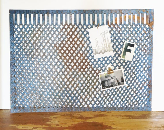 Industrial Metal Grate, Magnetic Bulletin Board, Rusty Blue- Free Shipping
