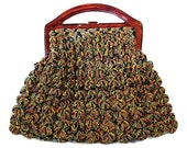 Depression Era Purse Crocheted With Celluloid Frame Handle