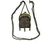 Victorian Antique Mesh Purse Necklace Art Nouveau Repoussé