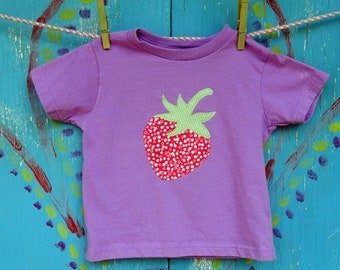 Summer Strawberry Appliqued Tshirt, Girl's 3T Short Sleeve Purple Shirt, READY-TO-Ship