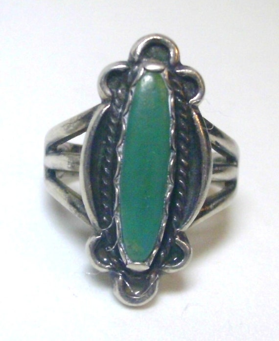 Reserved for crftyldy3 - Vintage Silver and Turquoise Ring 9/16 Inch Inside Diameter