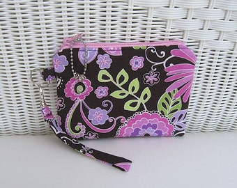 READY-TO-SHIP Boho Orchid  Wristlet / Padded Pouch / Womens Wristlet