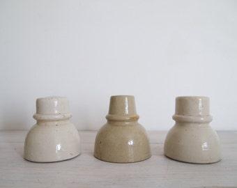 vintage industrial porcelain insulator trio
