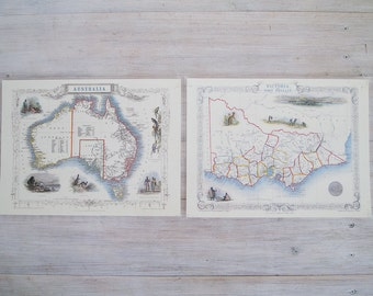 vintage laminated maps of australia and victoria