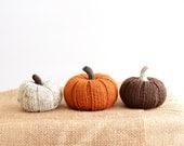 SALE Three Little Pumpkins: Hand Knit Autumn Fall Decor, Knit Pumpkins