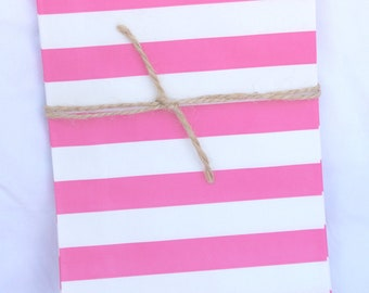 12MeDiUM SiZe STRiPeD PaPER BAGs-- Hot Pink--party favors--gifts---weddings--showers--12ct