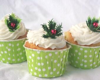 Holly Leaves Cupcake Picks----12ct--cupcake picks-christmas parties-holidays-cupcakes
