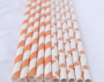 Orange Mix--Stripes and Dots-- Paper Straws --25ct with Free Printable diy Flags