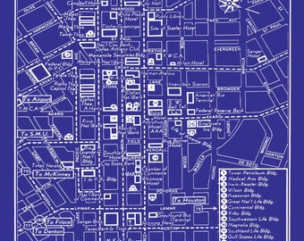 1949 Vintage Map of Downtown Dallas  Blueprint Map Print Poster