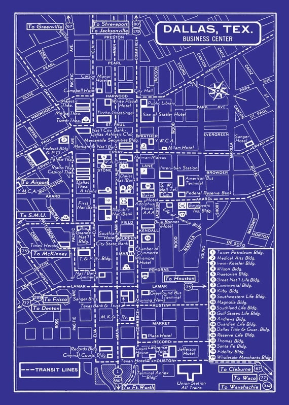 1949 vintage map of downtown dallas blueprint map print like this item malvernweather Gallery